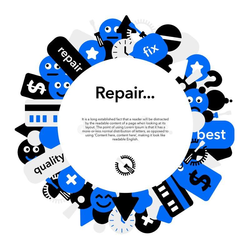 Réparation de concept d'équipement mobile Icônes de réparation avec un endroit rond pour le texte et icônes thématiques sur le ca illustration libre de droits