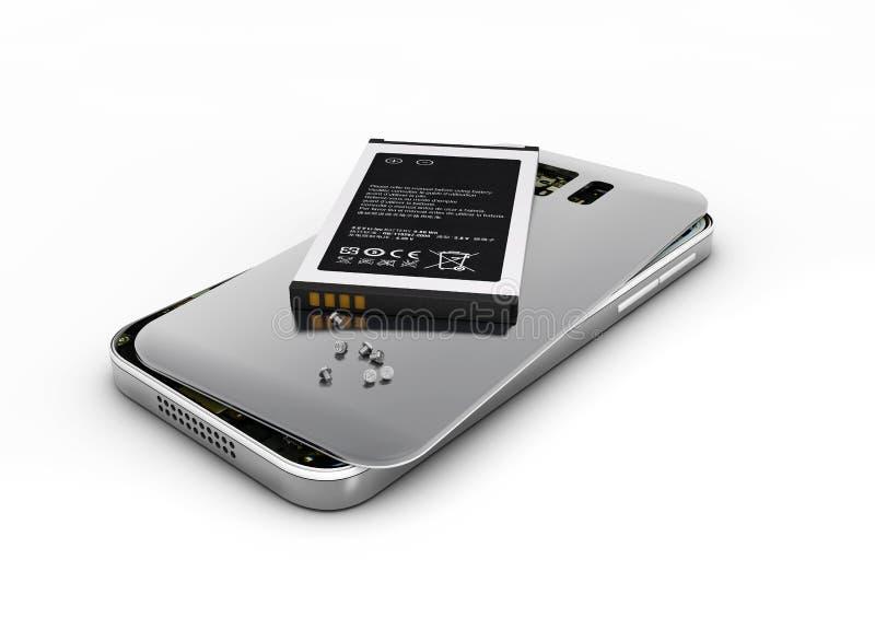 Réparation de téléphone portable illustration 3D Téléphone portable cassé avec la batterie Réparez le matériel électronique illustration stock