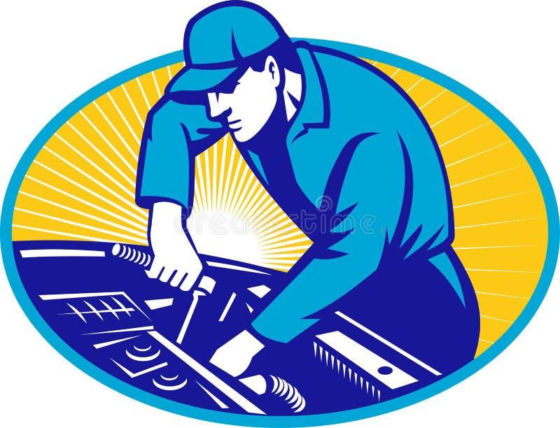 Réparation de véhicule de mécanicien automatique rétro illustration de vecteur