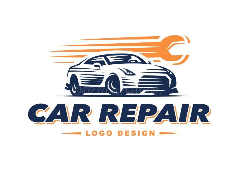 Réparation de voiture de logo sur le fond clair illustration stock