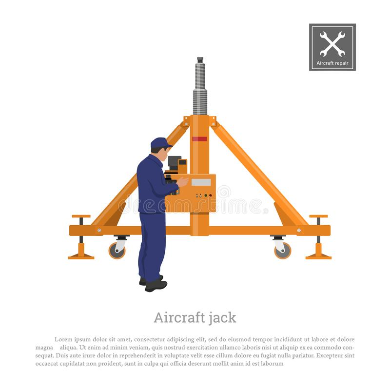 Réparation et entretien des avions Ingénieur avec le cric d'avion Dessin industriel de vitesse plate dans le style plat illustration libre de droits