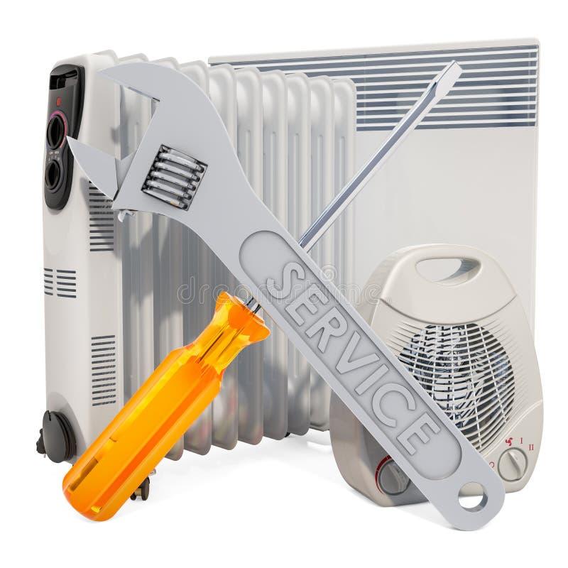 Réparation et service de concept de dispositifs de chauffage rendu 3d illustration stock