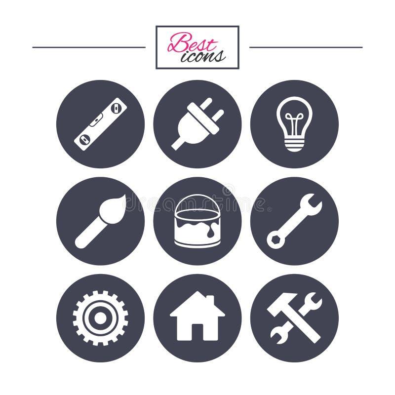 Réparation, icônes de construction Marteau, outil de clé illustration de vecteur