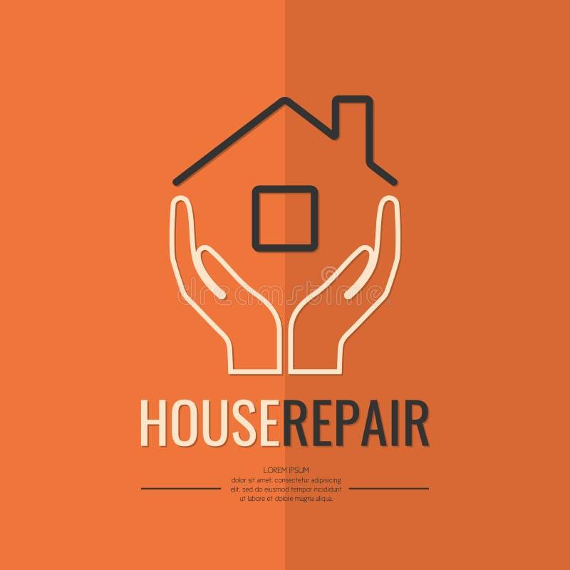 Réparation linéaire de maison de logo illustration de vecteur