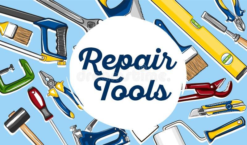 Réparez le style dessiné de bannière d'outils à disposition illustration libre de droits