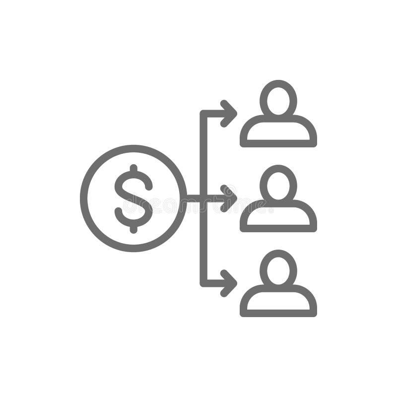 Répartition du revenu des revenus, paiement des dividendes, salaire, pièce de monnaie d'argent avec la ligne icône de personnes illustration de vecteur