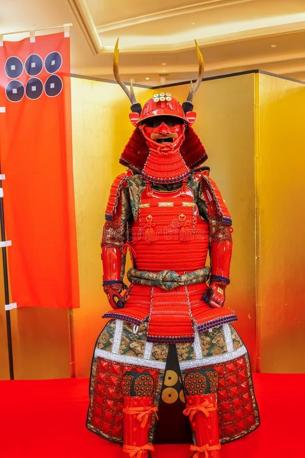 Réplica da armadura de Sanada Yukimura em Osaka, Japão imagens de stock