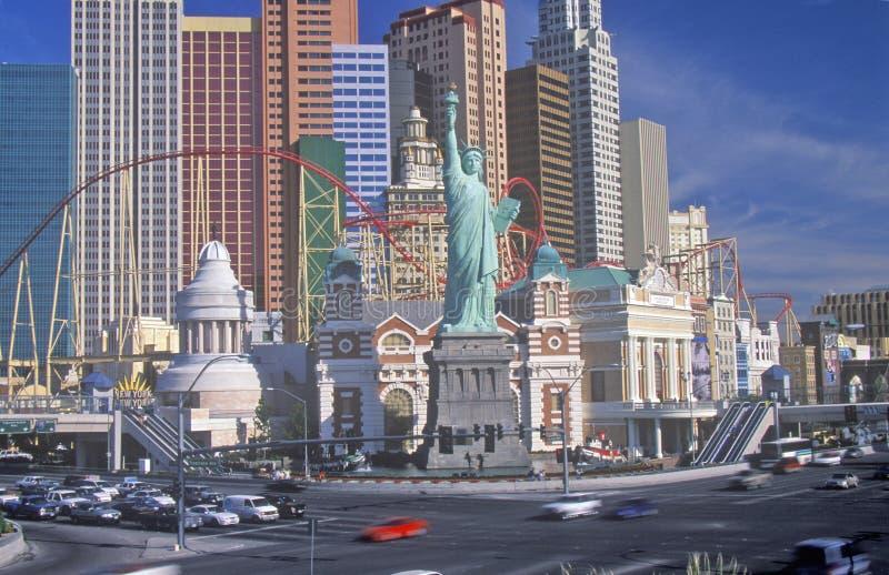 Réplica da estátua da liberdade fora de New York, de hotel de New York e de casino, Las Vegas, nanovolt fotos de stock royalty free