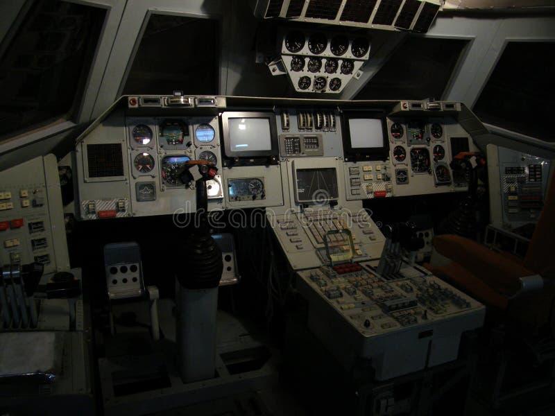 Réplica de uma cabina do piloto do vaivém espacial soviético foto de stock