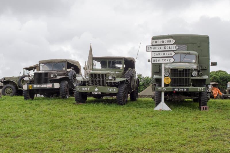 Réplica do acampamento militar durante celebrações do aniversário do dia D foto de stock