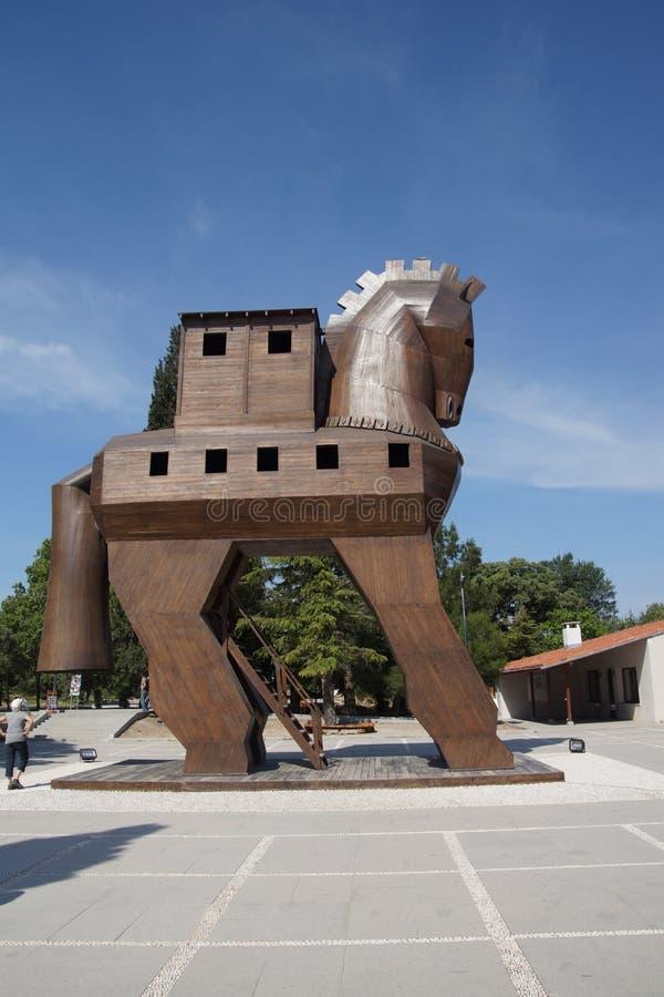 Réplica do cavalo de troia fotografia de stock