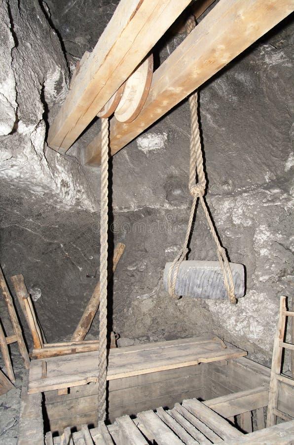 Réplica do equipamento da mina de sal fotos de stock