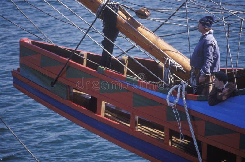 Réplica do modelo de navio de Mayflower II fotos de stock royalty free