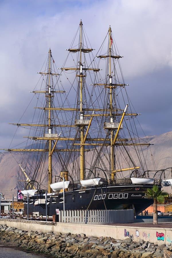 Réplica do navio Esmeralda em Iquique, o Chile fotos de stock