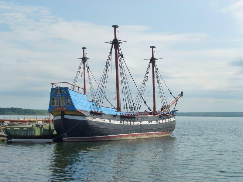 Réplica do navio do Scottish, Hector em Pictou, Nova Scotia fotos de stock
