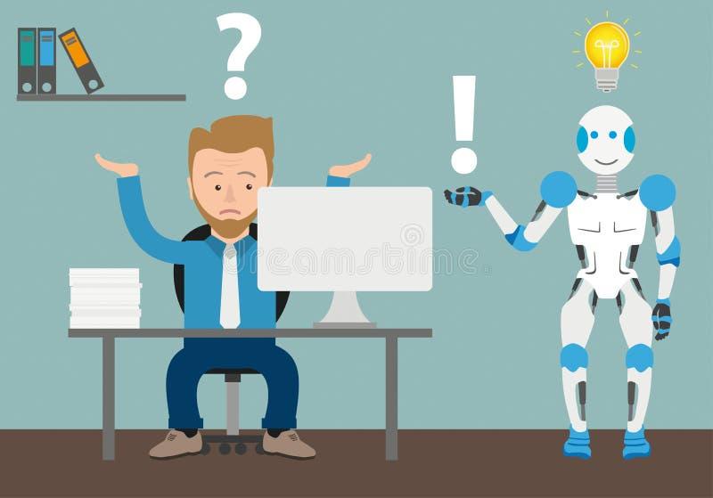 Réponse de Question Office Robot d'homme d'affaires de bande dessinée illustration stock