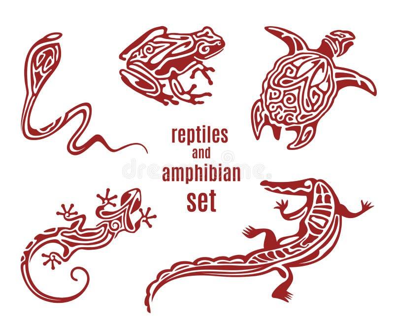 Répteis estilizados e grupo anfíbio do ícone ilustração royalty free