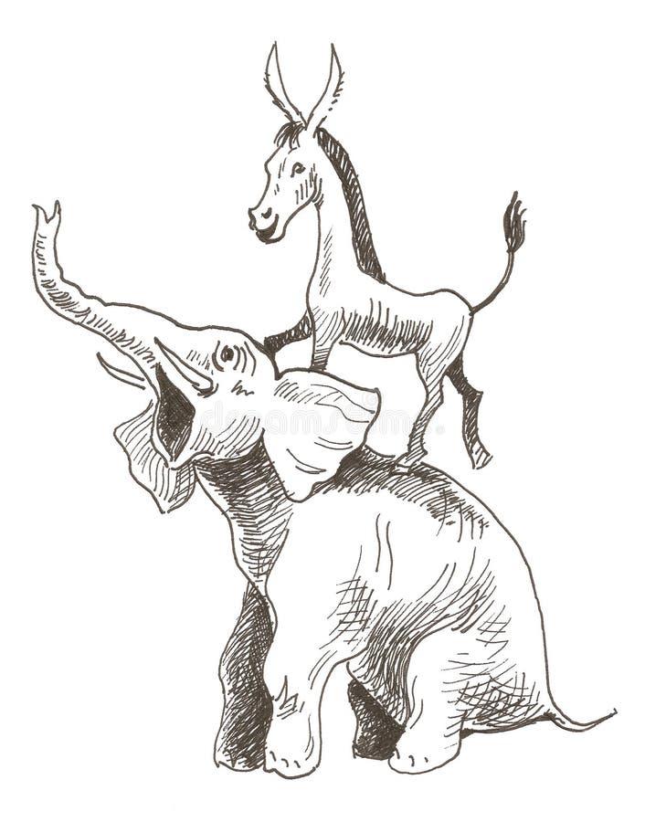 républicains de démocrates illustration de vecteur