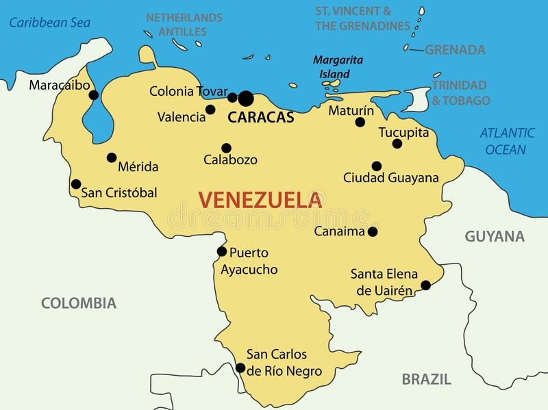 République de Bolivarian du Venezuela - carte de vecteur illustration stock