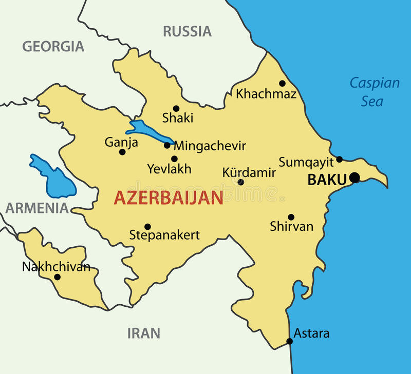République de l'Azerbaïdjan - carte illustration libre de droits