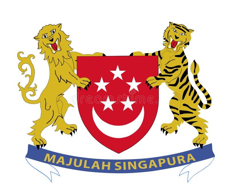 République du manteau de Singapour des bras illustration stock