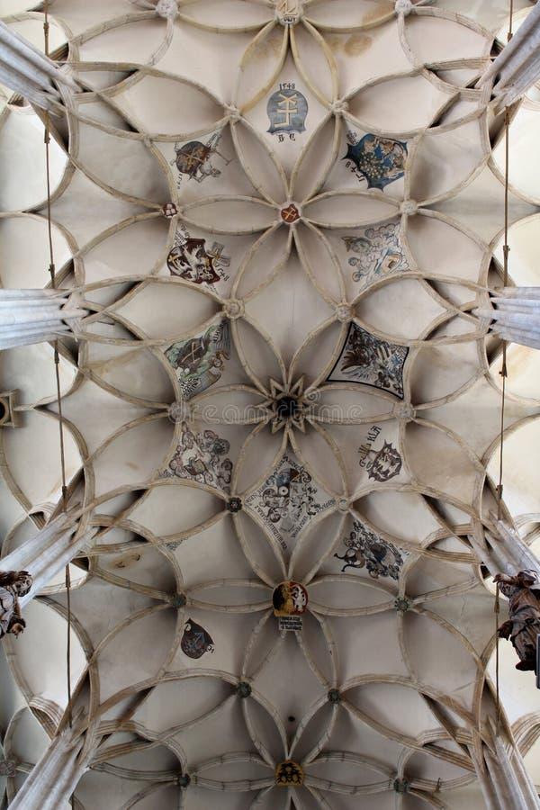 République Tchèque, ¡ Hora, église de St Barbara, chambre forte de Kutnà de plafond images libres de droits