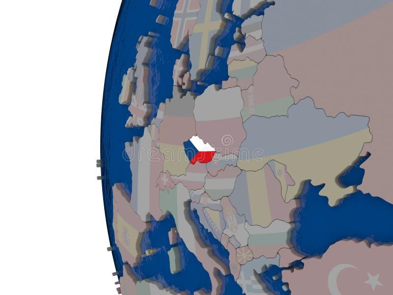 République Tchèque avec le drapeau national illustration de vecteur