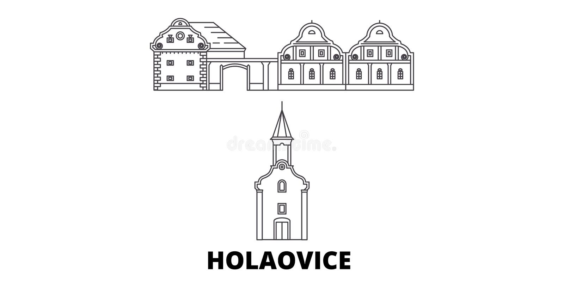 R?publique Tch?que, ligne ensemble de Holasovice d'horizon de voyage R?publique Tch?que, illustration de vecteur de ville d'ensem illustration de vecteur