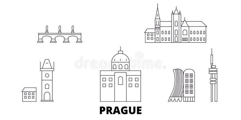 République Tchèque, ligne ensemble de Prague d'horizon de voyage République Tchèque, illustration de vecteur de ville d'ensemble  illustration de vecteur