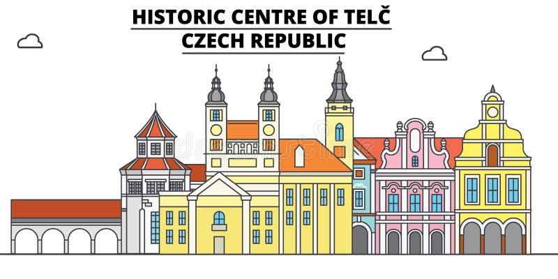 République Tchèque, Telc, illustration de vecteur d'horizon de voyage illustration libre de droits