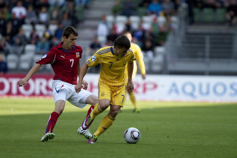 République Tchèque - Ukraine (l'UEFA Under21) photographie stock libre de droits