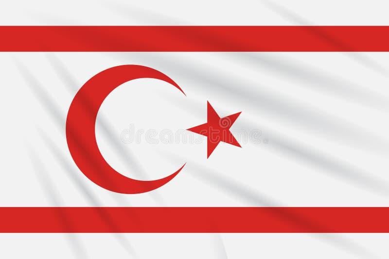 République turque de drapeau de la Chypre du nord en vent illustration de vecteur