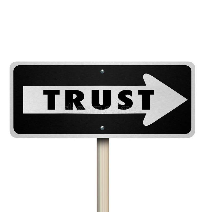 Réputation de Word de confiance une direction de flèche de panneau routier de manière illustration de vecteur