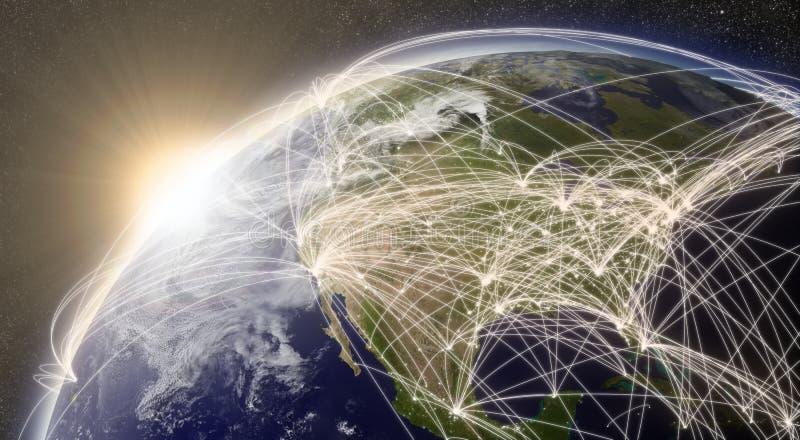 Réseau au-dessus de l'Amérique du Nord illustration libre de droits