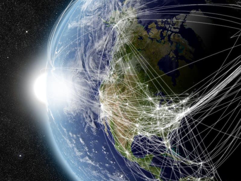 Réseau au-dessus de l'Amérique du Nord illustration de vecteur
