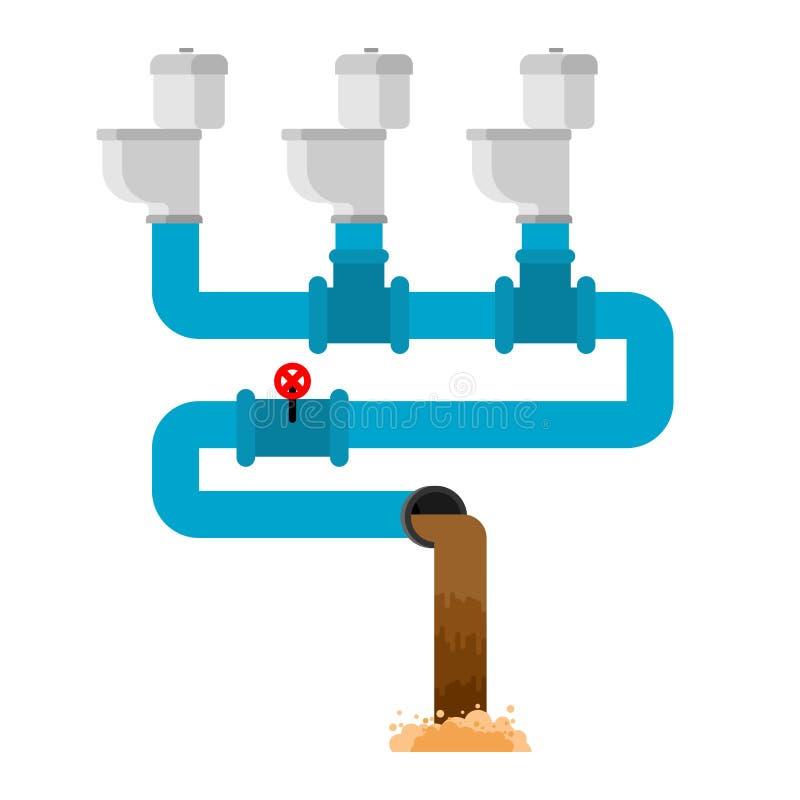 Réseau d'égouts Cuvette des toilettes et égout wastewater Illustr de vecteur illustration de vecteur