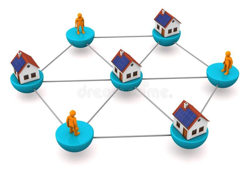 Réseau d'agent immobilier illustration de vecteur