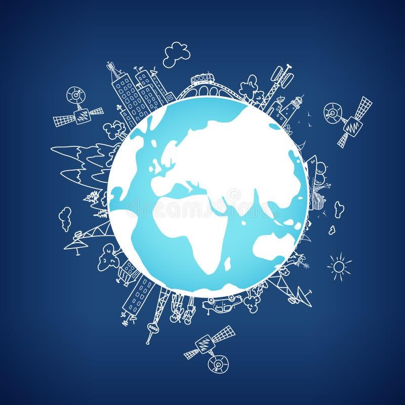 Réseau d'information global sur le globe, vecteur illustration stock