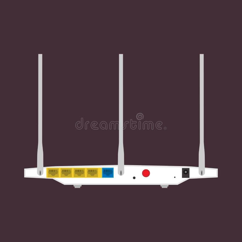 Réseau d'isolement par icône arrière de vecteur de vue de routeur Équipement sans fil d'antenne d'Internet d'ordinateur Accès de  illustration libre de droits