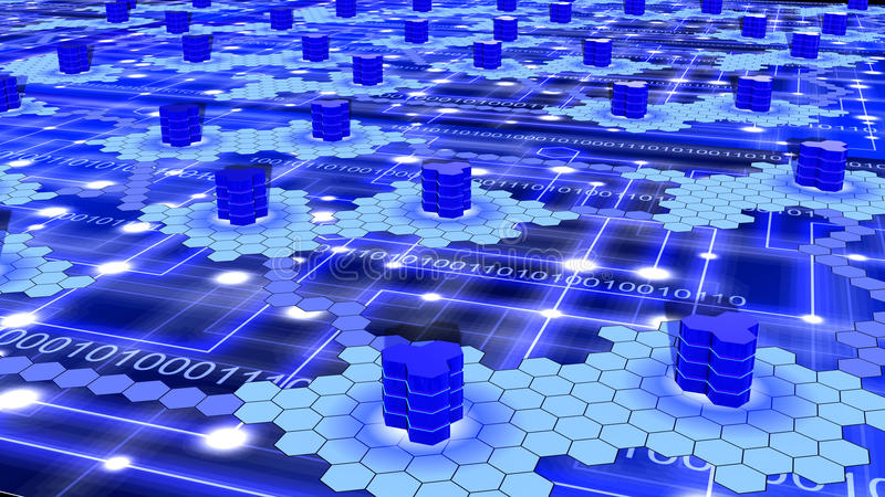 Réseau d'ordinateur géant d'hexagone sur le bleu illustration libre de droits