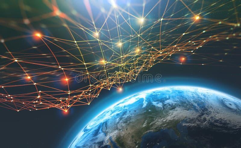Réseau de chaîne de bloc et terre de planète Intelligence artificielle Base de données décentralisée globale image stock