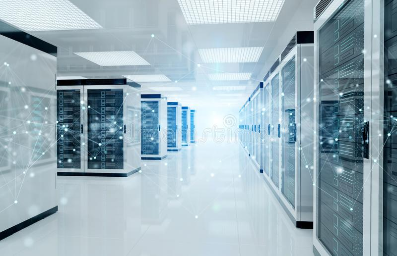 Réseau de connexion dans le rendu des systèmes 3D de stockage de pièce de centre de traitement des données de serveurs illustration stock