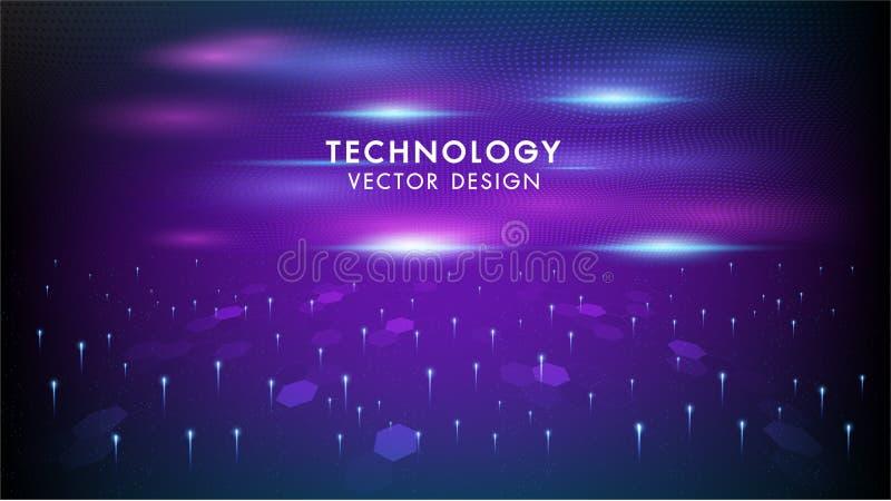 Réseau de connexion Internet vectoriel contexte futuriste abstrait Illustration technologie informatique de pointe bleu foncé et  illustration libre de droits