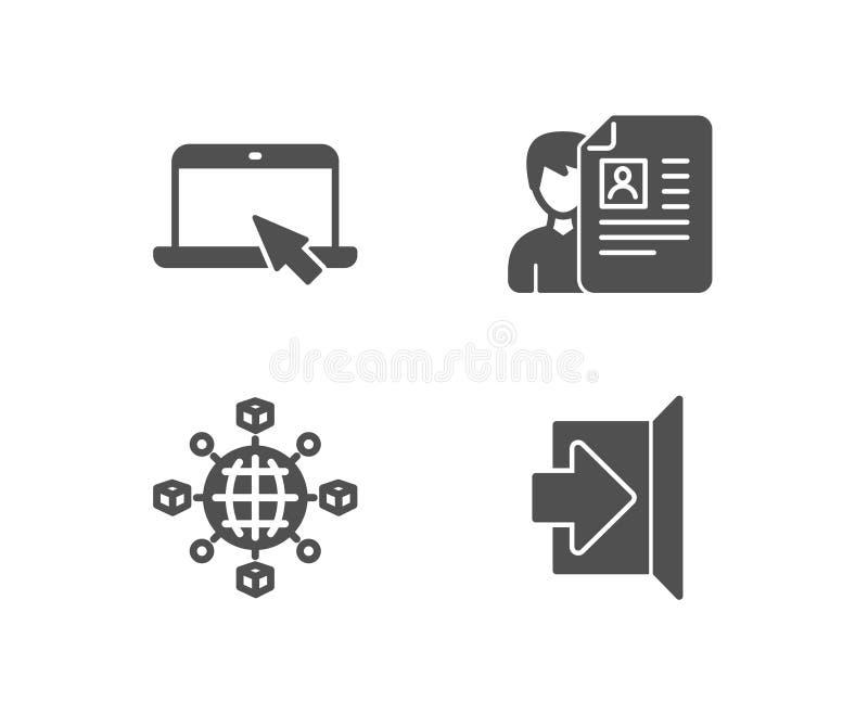 Réseau de logistique, icônes d'entrevue d'emploi d'ordinateur portable et Quittez le signe illustration libre de droits