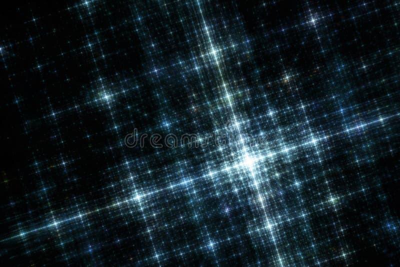 Réseau de lumières bleues de ville à l'image de fractale de nuit