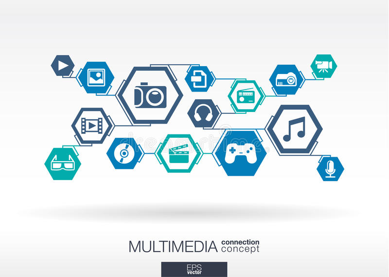 Réseau de multimédia Fond abstrait d'hexagone illustration de vecteur