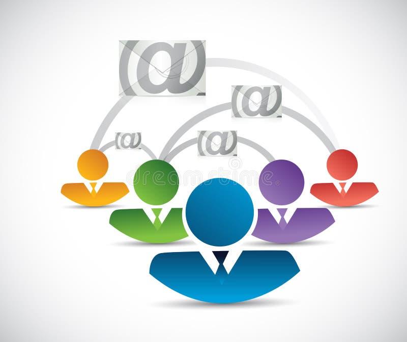 réseau de personnes de correspondance d'email illustration de vecteur