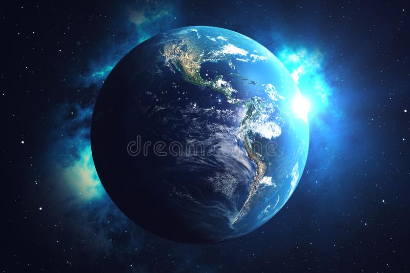 réseau du rendu 3D et d'échange de données au-dessus de la terre de planète dans l'espace Lignes de connexion autour de globe de  illustration stock