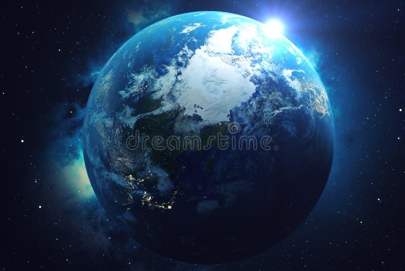 réseau du rendu 3D et d'échange de données au-dessus de la terre de planète dans l'espace Lignes de connexion autour de globe de  illustration de vecteur