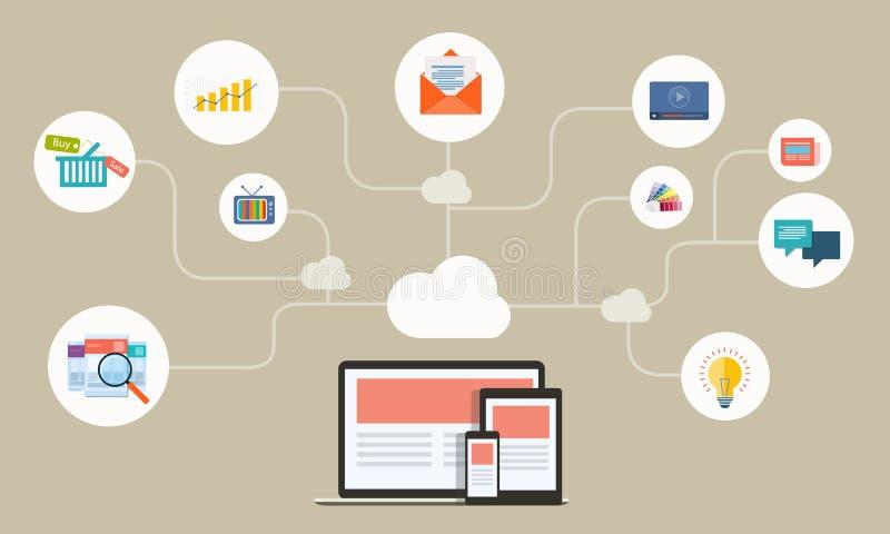 Réseau en ligne d'affaires plates sur l'application de dispositif illustration stock